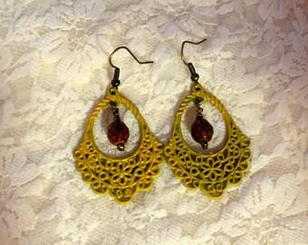 Gypsy Filligree Earrings    Beaded Earrings   Bohemian Filigree Earrings   item 356