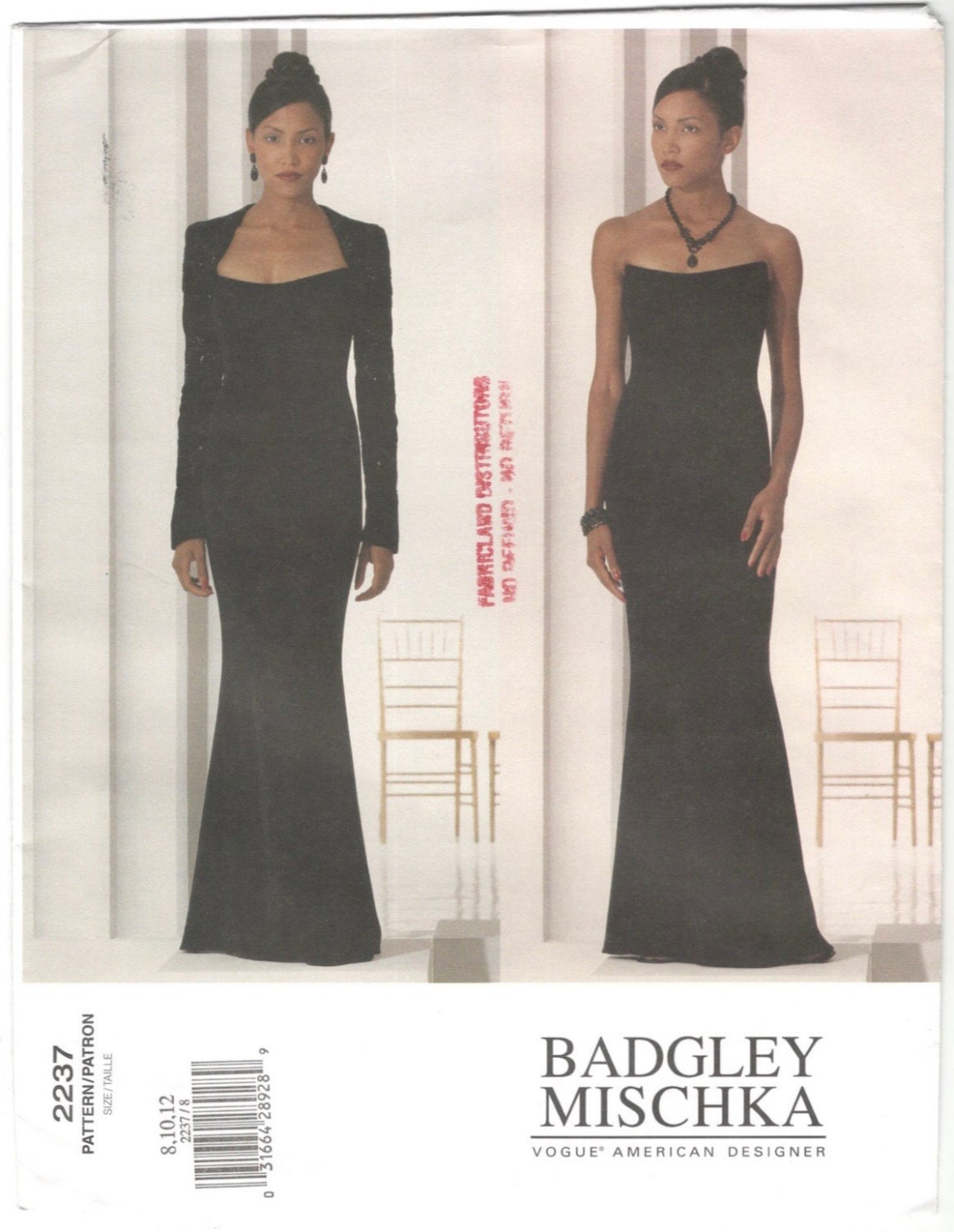 Late 1990s Badgley Mischka strapless evening dress and bolero shrug pattern - Vogue 2237