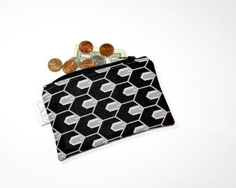 Coin Zip, black geo, coin pouch