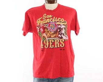 Vintage 90s San Francisco 49ers T Shirt Joe Montana Screen Tee Football NFL Athletic Shirt Short Sleeve T Shirt 1990s XL Mens Red Shirt