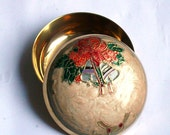 Vintage Brass Box Christmas Present Box Trinket Jewellery or Gift Box Enamelled with a Lid Handmade Hand Painted Lovely Gift