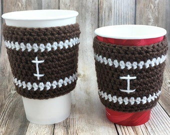 Coffee Cup Cozy, Football Sleeve, Halloween Coffee Cover, Tea Cup Cozy, Coffee Sleeve, Coffee Cup Sleeve, Tea Cup Sleeve