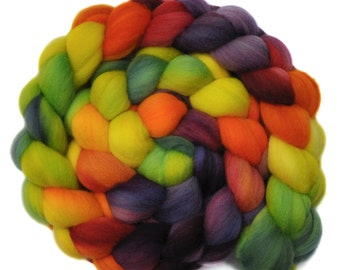 Hand dyed roving - 19μ Merino wool spinning fiber - 4.0 ounces - Spring is Sprung 2