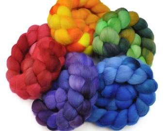Hand Dyed Roving Rainbow 5-Pack - Falkland wool spinning fiber - 10 ounces