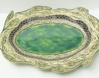 ceramic serving platter; ceramic art platter;ceramics and pottery; ceramic leaf plate