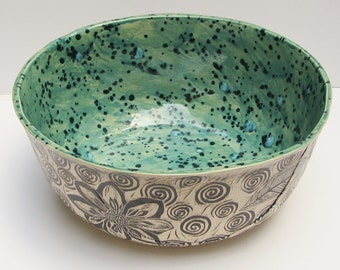 ceramic decorative bowl; hand built pottery; ceramics and pottery; Sgraffito pottery; ceramic art