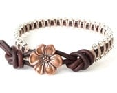 Gift for teen girls, silver macrame bracelet with apple blossom button, beaded leather wrap boho style, womens bracelet