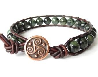 Boyfriend birthday gift, mens leather bracelet, hipster gift for men, triskele wrap with rustic Kambaba jasper, unisex bead jewelry