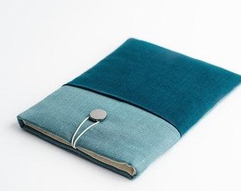 iPad Pro, Macbook 13 inch sleeve, teal, with pocket, minimal