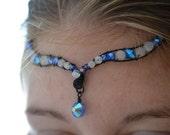 Moonstone and Crystal Tiara - Third Eye crown - Bridal Tiara - Blue Black and White - Rainbow Moonstone