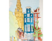 """Signed Archival Watercolor Reproduction Print """"A Parisian View"""" 8.5x11 inches"""