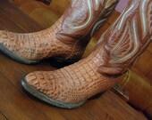 Sz 7.5 ALLIGATOR Vintage Brown Country Western Boots WOMEN