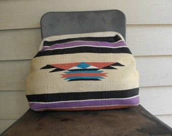 Vintage Chimayo Large Clutch Frame Handbag Purse Pouch Native American Blanket Multicolor Richmark Made In USA