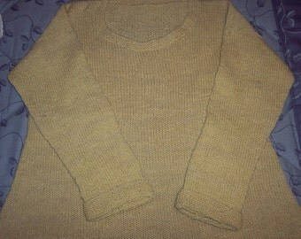 Rustic handspun sweater. Hand dyed, hand knit.