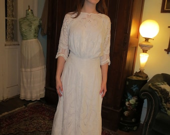 Fabulous All BRODERIE ANGLAISE Victorian WEDDING Gown