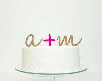 Personalised Script Initials Monogram Wedding Cake Topper