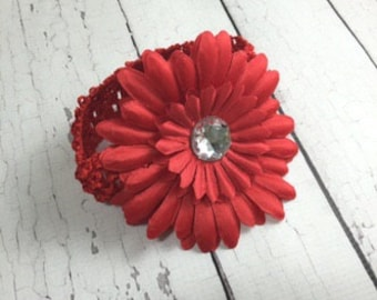 Daisy Flower Headband - baby Headbands - Red Flower - Baby and Toddlers