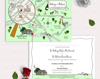 Custom Map Wedding Invitation or Info Card - Full Colour | Unique Invitation | Contemporary Invitation | Luxury Invitation