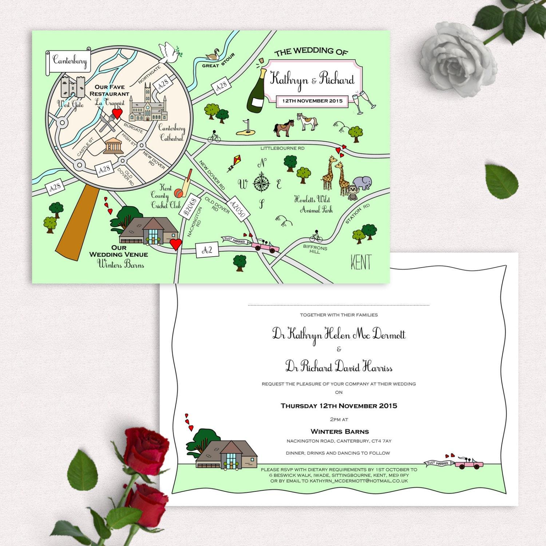 Custom Map Wedding Invitation Or Info Card Full Colour