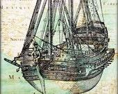 Ship boat print, sailboat map art print, old war vessel antique map East America, nautical art, kids room decor,  beach cottage decoration,
