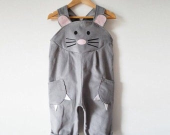 Mouse dungaree dress up in grey