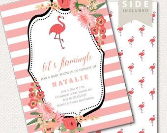 flamingo baby shower | etsy, Baby shower invitations