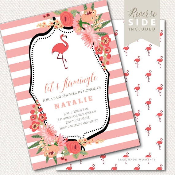 flamingo baby shower invitation flamingo party invitation flamingo