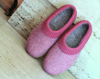 Women's slippers - Felted slippers for woman - wool slippers - felt wool - women's house shoes - eco friendly - Christmas gift