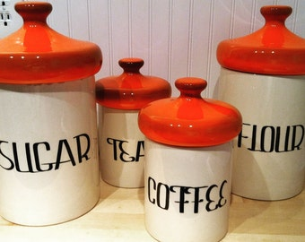 Canisters - Vintage 70's Orange Canister set