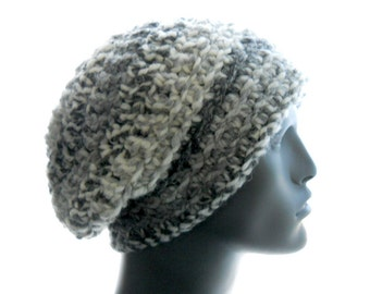 Men's Wool - Blend Slouchy Hat, 'Soot' Grays Crocheted Beanie, Large Size