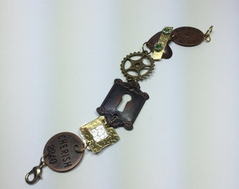 Steampunk industrial copper and bronze metal piecework bracelet