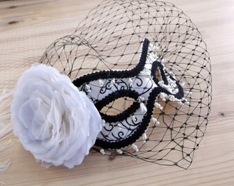 Black and White Masquerade Ball Mask with Veil