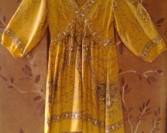 90s yellow Indian tunic dress by Angie