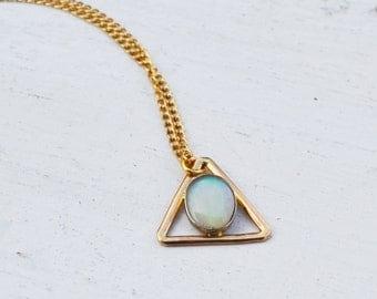 Australian Opal Triangle Necklace, 14K Gold Necklace, Gold Opal Necklace, Delicate Necklace, Gemstone Fine Jewelry