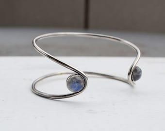 Moonstone Double Stone Orbit Bracelet, Sterling Silver Cuff Bracelet, Gemstone Cuff, Moonstone Bracelet, Open Cuff Bracelet