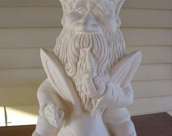 Ceramic Bisque Gnome on a Rabbit