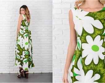 Floral Dress Hawaiian Tropical Maxi XS 7955 Vintage 70s Green + White Floral Dress Hawaiian Dress Tropical Dress Maxi Dress Xs Dress