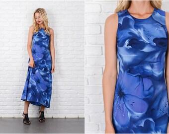 Blue Retro Dress Vintage 80s Maxi Floral Print XS Sleeveless 8083