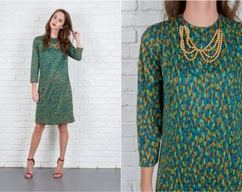 Vintage 60s 70s Green Blue Mod Dress Shift 3/4 Slv Graphic Print S M 5575
