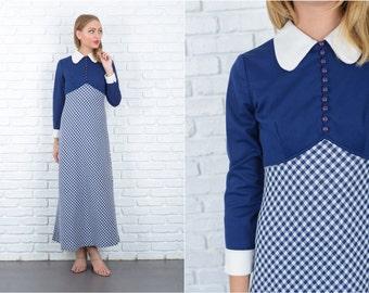Vintage 70s Navy Blue Mod Dress Gingham Plaid Print Maxi Small S 5642