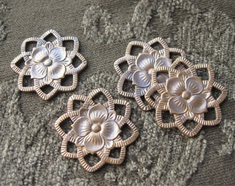 Brass Ox Filigree Flower Connector Findings 8 Loops 22mm (4)