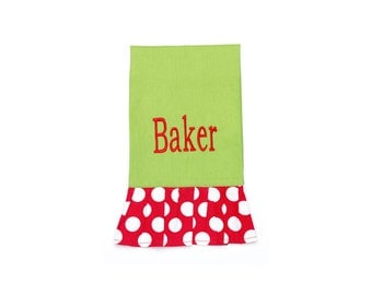 Monogrammed Christmas Holiday hand towel
