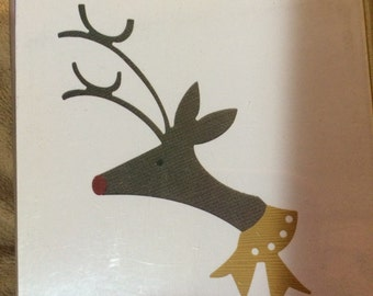 Lifestyle Crafts/Quickutz  Dies   REINDEER  4 X 4   1 Die  REV-0256-s   Winter Deer Rudolph Holiday