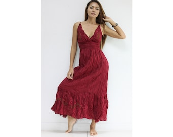 Maxi Dress DFH06 Cotton Embroidered Long Sexy Halter Gown Casual Party Sun Beach