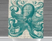 Octopus Shower Curtain: Nautical Sealife Bath Curtain | 12 Eyelet/Button Hole | Size and Pricing via Dropdown