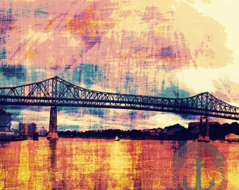 Boston Tobin Bridge Industrial Decor At Checkout, Choose Lustre Print or Gallery Wrapped Canvas