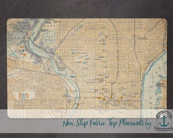 Placemat - Philadelphia Vintage Map | Anti Skid/Non Slip Fabric Top Rubber Backed Awesomeness