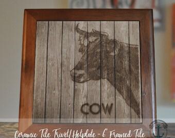 "Trivet Hot Plate:  Farmhouse Cow  |  Country Chic Barn Decor  |  6"" Ceramic Trivet or Tile Kitchen Accessory"