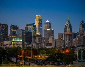 Philadelphia Skyline at Night from South Street Bridge Fine Art Photography