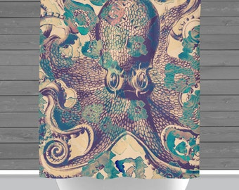 Octopus Shower Curtain: Nautical Sealife Bath Curtain   12 Eyelet/Button Hole   Size and Pricing via Dropdown